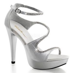 sølv strass 13 cm COCKTAIL-526 plattform høyhælte sko