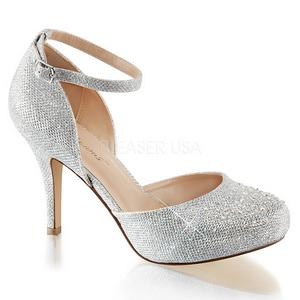 sølv strass 9 cm COVET-03 klassiske pumps sko til dame