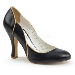 svart 10 cm SMITTEN-04 pinup pumps med lave hæler