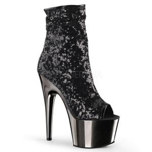 svart 18 cm ADORE-1008SQ dame ankelstøvletter med paljetter