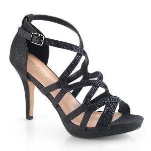 svart 9,5 cm DAPHNE-42 sandaletter med stiletthæl
