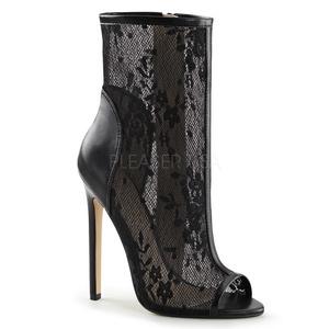svart grid 13 cm SEXY-1008 Open Toe ankel høye støvletter med hæler