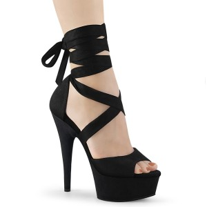 svart kunstlær 15 cm DELIGHT-679 høye hæler med ankel blonder