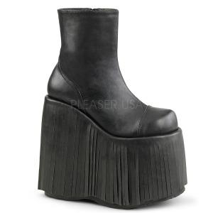 svart kunstlær 18 cm SLAY-205 lolita ankelstøvletter platå