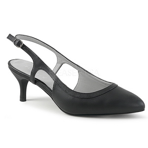 svart kunstlær 6 cm KITTEN-02 store størrelser pumps sko