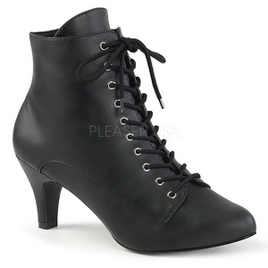 svart kunstlær 7,5 cm DIVINE-1020 store størrelser ankelstøvletter dame