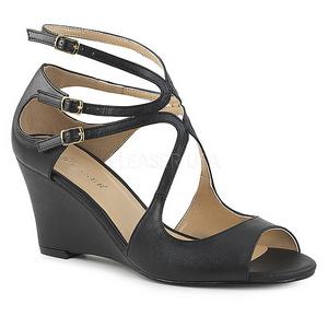svart kunstlær 7,5 cm KIMBERLY-04 store størrelser sandaler dame