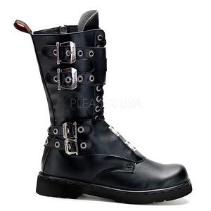 svart kunstlær DEFIANT-302 støvletter til menn med spenner