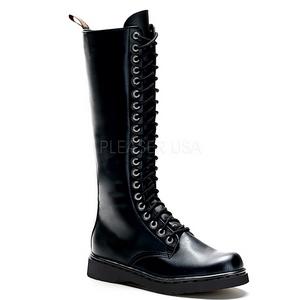 svart kunstlær DEFIANT-400 støvletter til menn med snøring