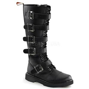 svart kunstlær DEFIANT-420 støvletter til menn med spenner