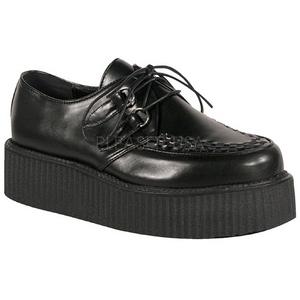 svart kunstlær V-CREEPER-502 platå creepers sko til menn