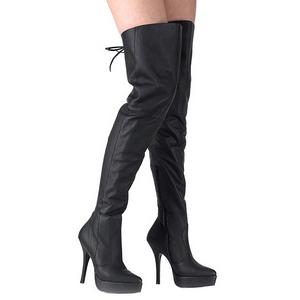 svart lær 13,5 cm INDULGE-3011 lårhøye støvler til menn