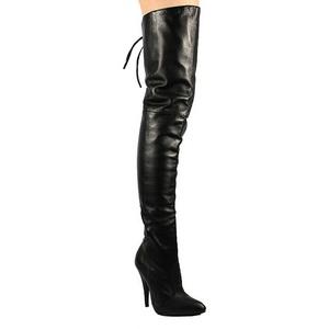 svart lær 13 cm LEGEND-8899 lårhøye støvler til menn