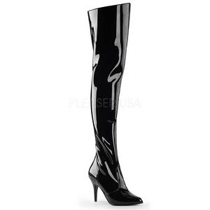 svart lakk 10,5 cm VANITY-3010 lårhøye støvler