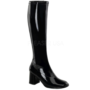 svart lakk 7,5 cm Funtasma GOGO-300 høye støvler dame