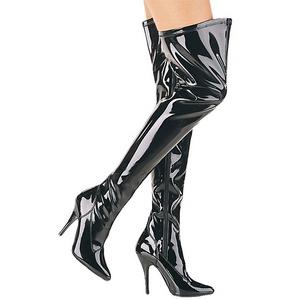 svart lakkert 13 cm SEDUCE-3000 lårhøye støvler til menn