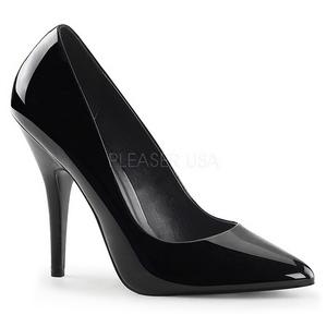 svart lakkert 13 cm SEDUCE-420 dame pumps sko flate hæl