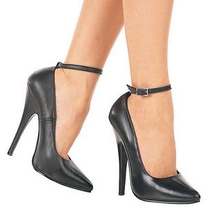 svart lakkert 15,5 cm DOMINA-431 pumps dame sko flate hæl
