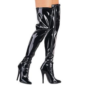 svart lakkert 15 cm DOMINA-3000 lårhøye støvler til menn