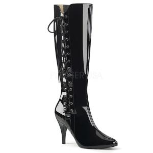 svart lakklær 10 cm DREAM-2026 store størrelser støvler dame