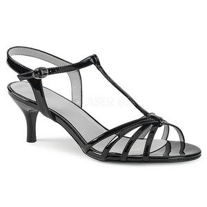 svart lakklær 6 cm KITTEN-06 store størrelser sandaler dame