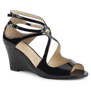 svart lakklær 7,5 cm KIMBERLY-04 store størrelser sandaler dame