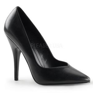 svart matt 13 cm SEDUCE-420V spisse pumps med høye hæler
