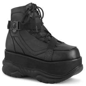 svart vegan 7,5 cm NEPTUNE-181 demonia ankelstøvletter - unisex cyberpunk ankelstøvletter