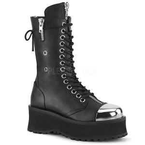 svart vegan 7 cm GRAVEDIGGER-14 demonia støvler - unisex platåstøvler