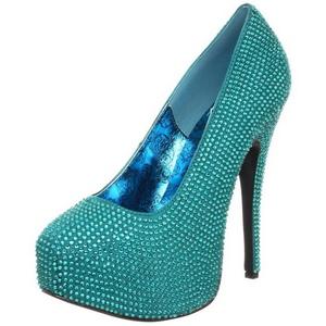 turkis strass 14,5 cm Burlesque TEEZE-06R høye platform pumps sko
