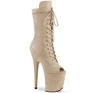 vegan 20 cm FLAMINGO-1051FS høyhælte ankelstøvler - åpen tå platåstøvler beige