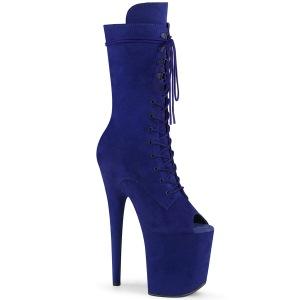 vegan 20 cm FLAMINGO-1051FS høyhælte ankelstøvler - åpen tå platåstøvler blå