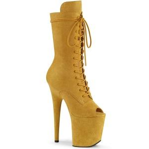 vegan 20 cm FLAMINGO-1051FS høyhælte ankelstøvler - åpen tå platåstøvler gul