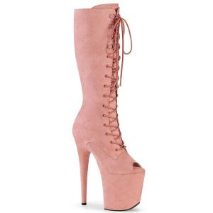 vegan 20 cm FLAMINGO-2051FS høyhælte ankelstøvler - åpen tå platåstøvler rosa