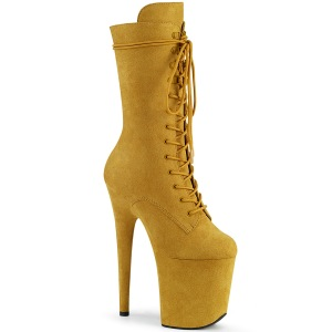 vegan suede 20 cm FLAMINGO-1050FS høyhælte støvler - pole dance platåstøvler i gul