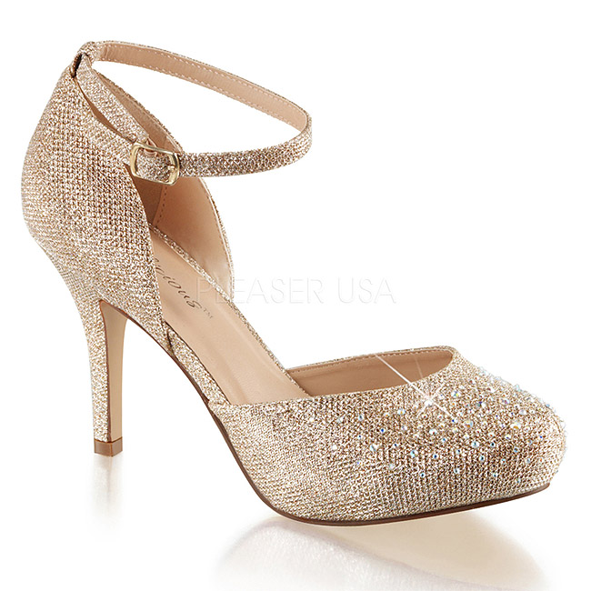 Gold Rhinestone 9 cm COVET-03 Low Heeled Classic Pumps Shoes ...