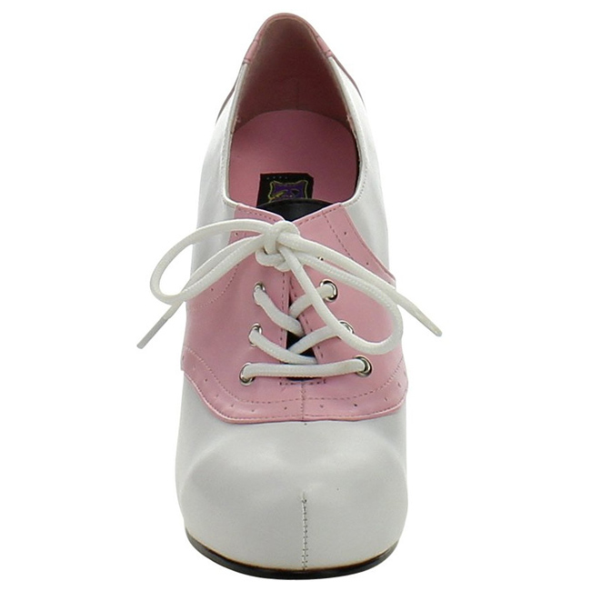 Pink White 11,5 cm SADDLE-48 Oxford Womens Shoes with High Heels ...