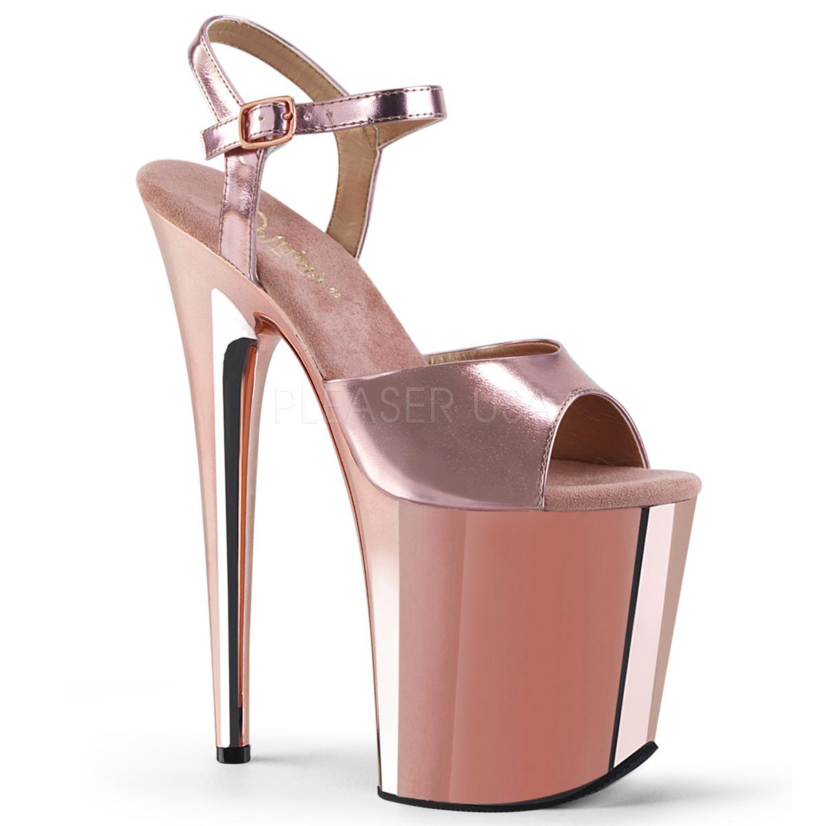74979585d Rosa 20 cm Pleaser FLAMINGO-809 krom platå høye hæler sko