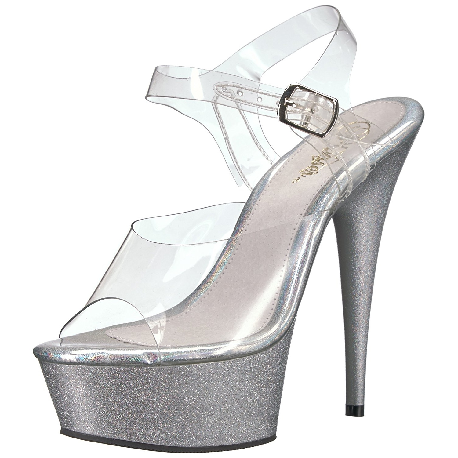 74752edab88 Silver glitter 15 cm Pleaser DELIGHT-608HG Pole dancing high heels shoes