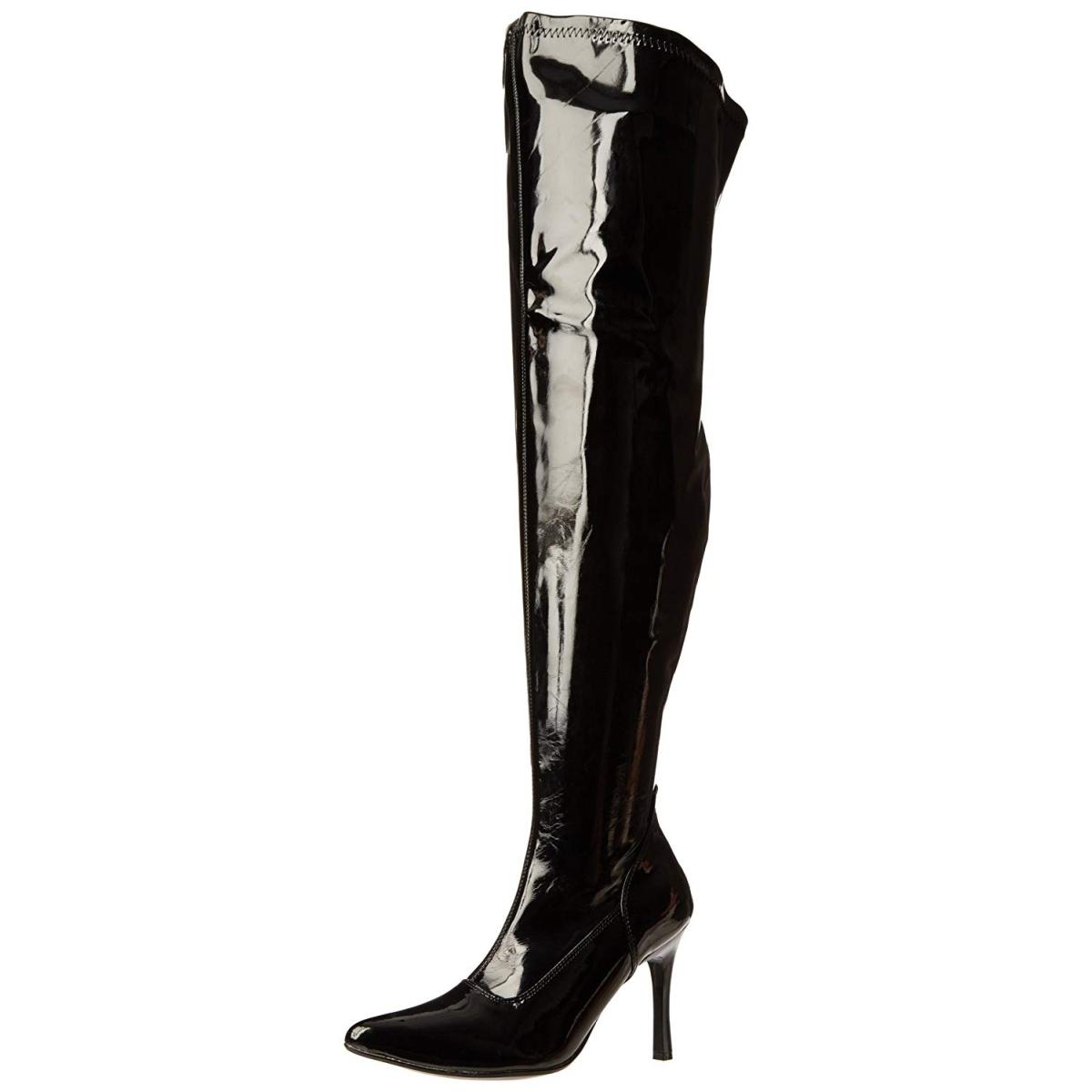 Svart 9,5 cm LUST 3000X overknee støvler brede lægge