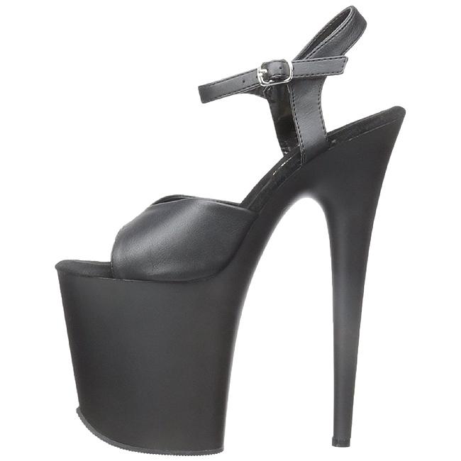 50f80c80b Svart Matt 20 cm Pleaser FLAMINGO-809 platå høye hæler sko