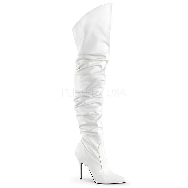 Heeled Cm 3011 10 White Classique Overknee Boots Leatherette High kZTlwXiOPu