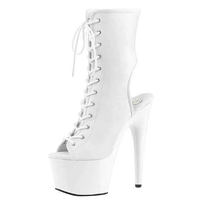 c1e5342b65fd9 White Matte 18 cm ADORE-1016 Open Toe Platform Ankle Calf Boots