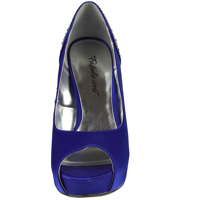 blå strass 13 cm LOLITA 08 høye pumps fest sko med hæl