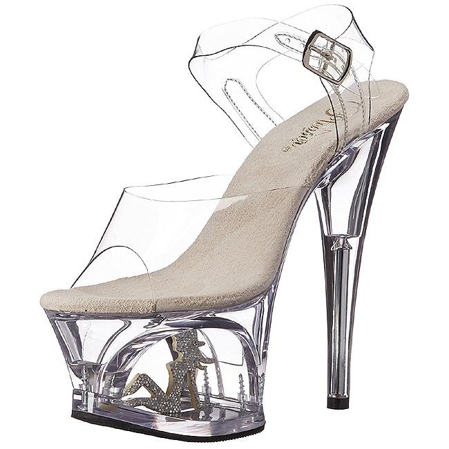 gjennomsiktig 18 cm MOON 708TG plateau høy hæl sko
