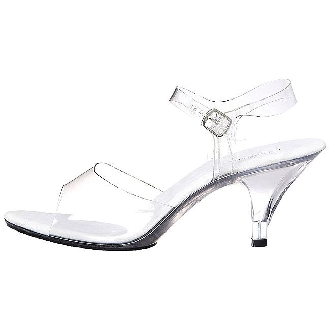 hvit gjennomsiktig 8 cm Pleaser BELLE 308 høye hæler sko