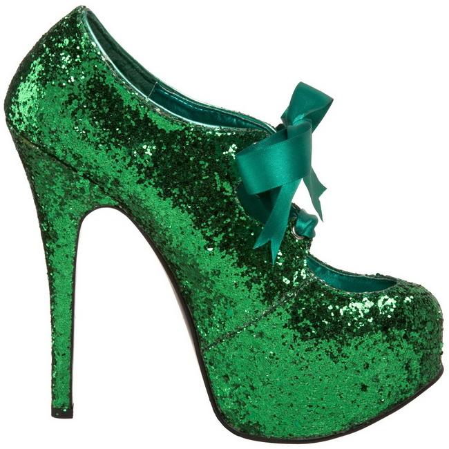 grønn glitter 14,5 cm TEEZE-10G platform pumps sko