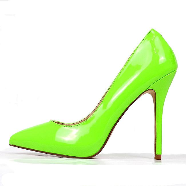 4f737a32 grønn neon 13 cm AMUSE-20 dame pumps sko stiletthæl