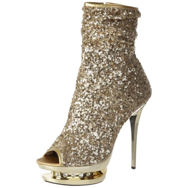 gull paljetter 15,5 cm BLONDIE R 1008 korte støvler platå