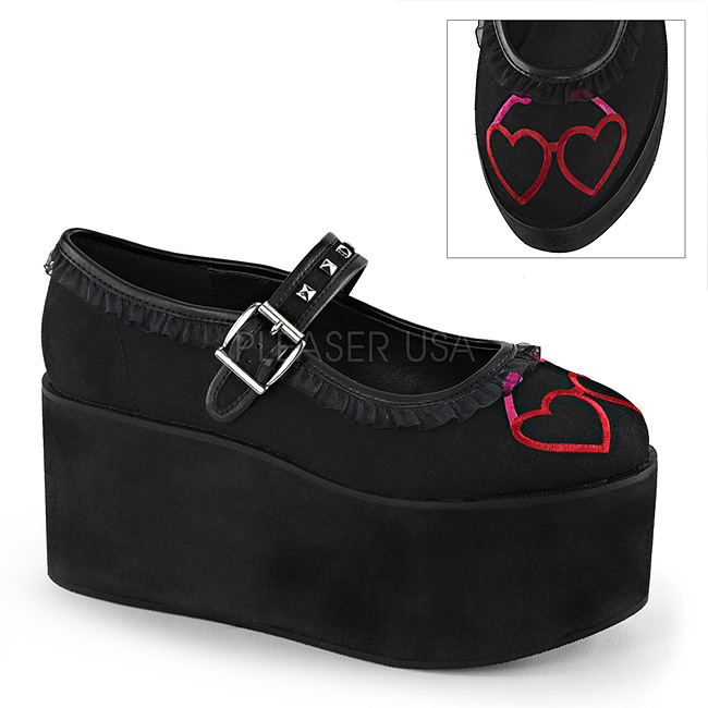 hjerte lerret 8 cm CLICK 02 1 lolita sko gothic platåsko tykke såler